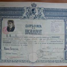 Liceul Nicolae Balcescu Braila 1933 diploma de bacalaureat cu timbre Carol II - Diploma/Certificat