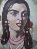 Tablou celebru,pictura TIGANCA,T.Aman,pictura pe panza PORTRET fara rama nesemna