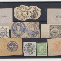 Lot timbre fiscale straine majoritatea de secol XIX, fixe sau mobile, An: 1890, Stampilat