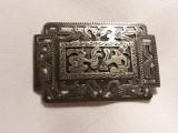 rara Brosa argint cu Oameni si Pauni VECHE Egipt traforata manual SUPERBA unicat