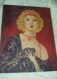 Pictura veche pictata pe panza,tablou Dansatoare CANCAN,Pictura semnata veche