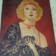 Pictura veche pictata pe panza,tablou Dansatoare CANCAN,Pictura semnata veche, Portrete, Ulei, Realism