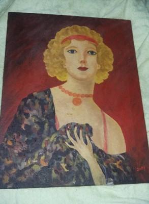 Pictura veche pictata pe panza,tablou Dansatoare CANCAN,Pictura semnata veche foto
