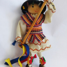 (T) Papusa Calusar, costum popular, jucarie romaneasca, artizanat, 12 cm - Costum petrecere copii