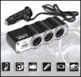 Priza Tripla BRICHETA 12V CU USB 5V, RoGroup