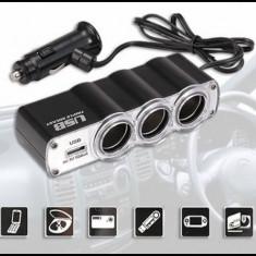 Priza Tripla BRICHETA 12V CU USB 5V RoGroup