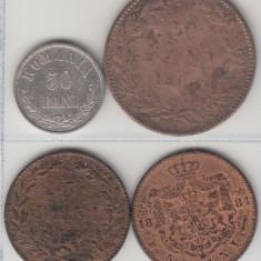 50 bani 1873 Carol I, Ag835 + Cadou 5+10 bani 1867 + 5 bani 1884, L2.24 - Moneda Romania, Argint