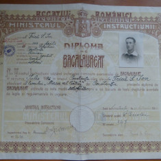 Liceul Mircea cel Batran Constanta 1931 diploma de bacalaureat timbre Carol II