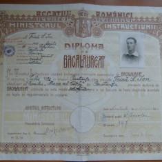 Liceul Mircea cel Batran Constanta 1931 diploma de bacalaureat timbre Carol II - Diploma/Certificat