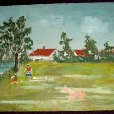 In lunca - arta naiva, tablou nesemnat, ulei pe lemn