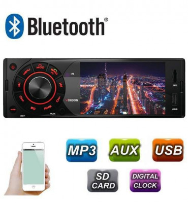 Radio MP3 Player Auto 1DIN cu Display, Telecomanda, USB, Card SD, Bluetooth, Microfon Incorporat, Putere 4x45W foto