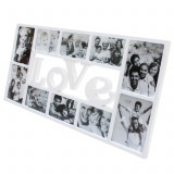 Rama Foto LOVE cu 10 Fotografii, Culoare Alb