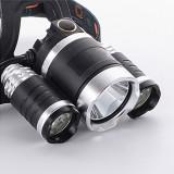 Lanterna Frontala 3 LED-uri CREE XML T6 cu acumulatori