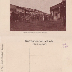 Strada Principala din Burdujeni (Bucovina, Suceava )- animata, rara - Carte Postala Bucovina pana la 1904, Necirculata, Printata