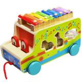 Autobuz de lemn cu xilofon si forme