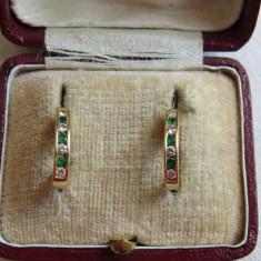 LICHIDEZ COLECTIE- CERCEI CU SMARALDE NATURALE SI BRILIANTE - Cercei cu diamante