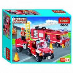 Set constructie - Pompieri si masini - COGO - 319 piese