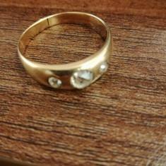 Inel Unisex Aur 14 k cu Diamante - Inel aur, Culoare: Galben