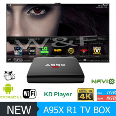 TV BOX ALFAWISE A95X-R1, 4K -Quad-Core, 1Gb, 8Gb, Wi-fi, Android 6, Nou cutie Full - Mini PC
