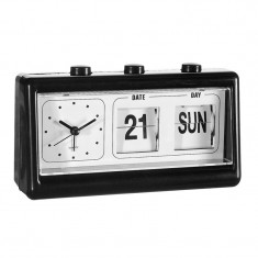 Ceas cu calendar, 19 x 10 cm, Negru