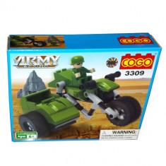 Set constructie - Motocicleta cu atas si soldat - COGO - 90 piese