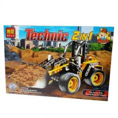 Excavator pe roti - 2 in 1 - 202 piese - Vehicul