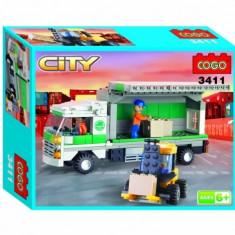Set constructie - Camion TIR cu Marfa si Stivuitor - COGO - 259 piese