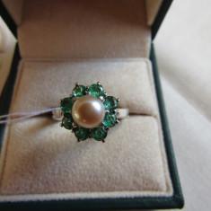 LICHIDEZ COLECTIE- INEL CU SMARALDE NATURALE SI PERLA NATURALA - Inel diamant, Carataj aur: 18k, Culoare: Alb