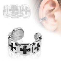 Piercing fals pentru ureche din rodiu, verigă cu cruci patinate