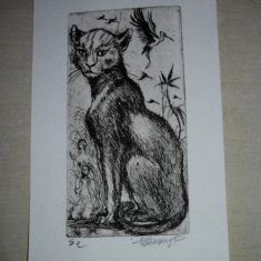 GRAVURA MARCEL CHIRNOAGA, 2 - Pictor roman, Animale, Cerneala, Realism