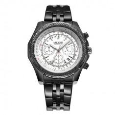 Ceas cronograf lux MEGIR afisaj data curea inox - Ceas barbatesc Invicta, Lux - sport, Quartz, Silicon