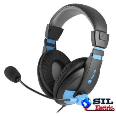Casca multimedia cu microfon MSX9PRO albastru/negru NGS foto