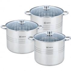 Set 3 oale inox cu capac sticla, rainstahl, 9L,11L,13.5L