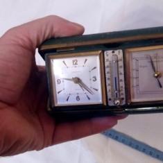 Ceas desteptator de voiaj EUROPA barometru  termometru Germnia functionabil