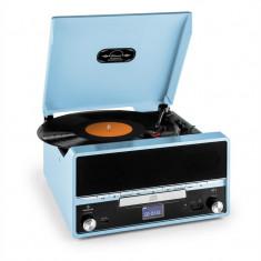 Auna RTT 1922 sistem stereo retro cu funcție de înregistrare AUX FM CD MP3 USB, albastru - Pickup audio