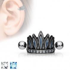 Piercing pentru ureche, din oţel, coroană patinată, barbell cu bile - Piercing ureche