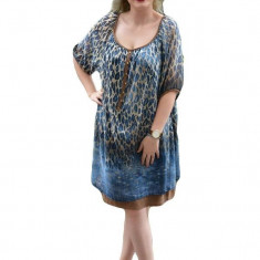Rochie casual, vaporoase, de culoare albastra RO-1335-AL (Culoare: ALBASTRU, Marime: 44) - Rochie de seara