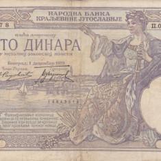 SERBIA 100 dinara 1929 VF!!! - bancnota europa