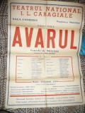 Afis al Teatrului National - Avarul de Moliere -versiunea T.Arghezi 1963-1964