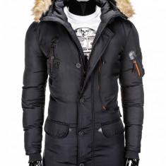 Geaca pentru barbati, de iarna, negru, impermeabila, fermoar, model slim, buzunare laterale - c305 - Jacheta barbati, Marime: M, XL, XXL