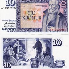 ISLANDA 10 kronur 1961 P-48 UNC!!! - bancnota europa