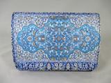 Plic/geanta dama albastru bleu cu motive indiene+CADOU, Medie