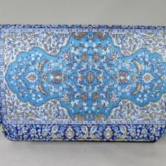 Plic/geanta dama albastru bleu cu motive indiene+CADOU, Culoare: Din imagine, Marime: Medie