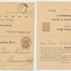 AUSTRIA 1884 carte postala dubla intreg postal trimis la Sibiu circulat efectiv