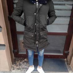 Geaca barbati de iarna khaki Lunga de tercot IGA cu gluga puf negru slim fit
