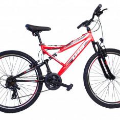 """Bicicleta MTB Full Suspensie UMIT Read Hawk , culoare negru/rosu, roata 26"""" , otPB Cod:2624000000, 21"""