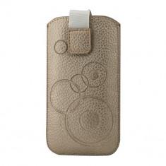 Toc Atlas Slim Samsung S5 Auriu - Husa Telefon Atlas, Piele Ecologica