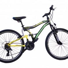Bicicleta MTB Full Suspensie UMIT Albatros V , culoare galben, roata 26 , otelPB Cod:2657000000, 21