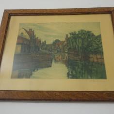 Gravura color/ canal, pod, Bruges (?) - Litografie