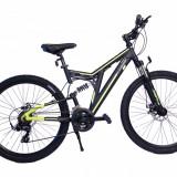 Bicicleta MTB Full Suspensie UMIT Kratos 2D , culoare galben ,roata 26 , aluminiuPB Cod:2655100000